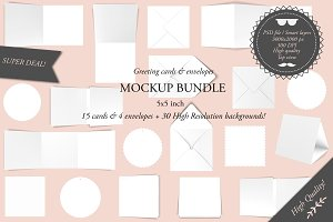 Greeting cards 5x5 - Mockup bundle