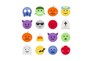 Halloween emoji icon set
