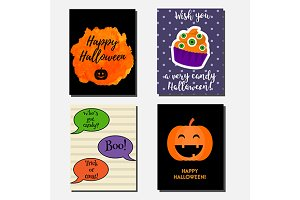 Halloween greeting cards templates