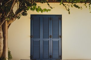 Old wooden blue painted door