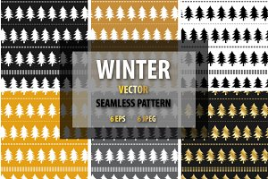 Winter seamless patterns