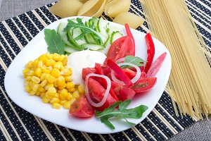 Slices of fresh raw vegetables