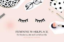 Feminine workplace mockup