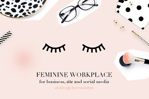 Feminine workplace mockup