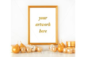 8x10 Gold Frame Holiday Mockup