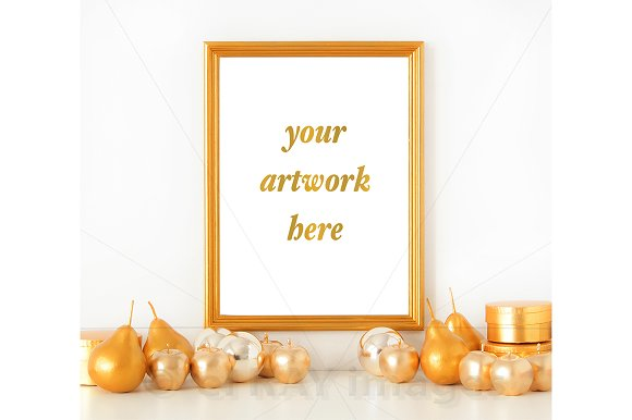 8x10 Gold Frame Holiday Mockup ~ Product Mockups ~ Creative Market