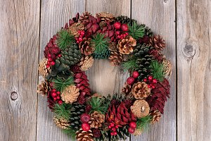 Pine Cone Wreath on Wood