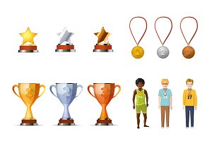 Gold, silver and bronze prizes