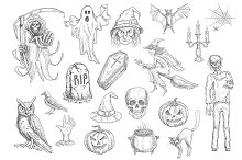Halloween holiday sketch characters