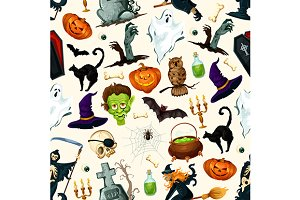 Halloween holiday cartoon pattern