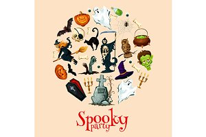 Halloween holiday cartoon poster