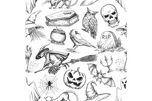 Halloween sketched pattern