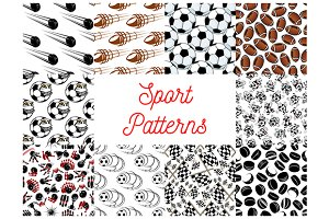 Sport objects seamless patterns