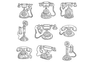 Old vintage retro phones