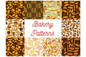 Bakery and baking seamless patterns