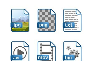 Blue file icons with extensions