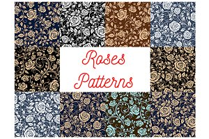 Roses seamless floral patterns