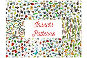 Insects and bugs seamless patterns