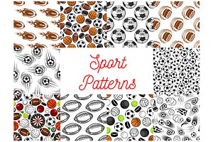 Sport  items seamless patterns