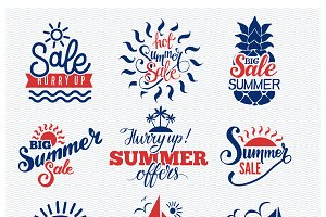 Summer sale logo vector badges