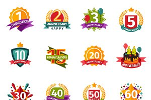 Birthday badge banner vector
