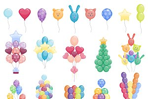 Color glossy balloons vector