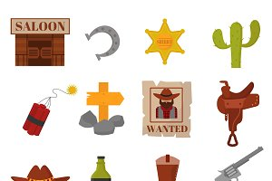 Western cowboys icons vector