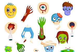 Zombie scary cartoon vector set