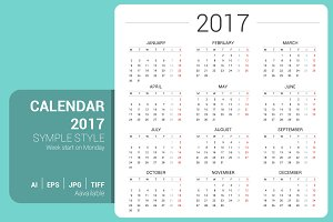Simple Calendar 2017