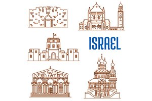 Israel landmarks thin line icons