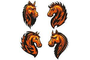 Stylized horse heraldic emblems