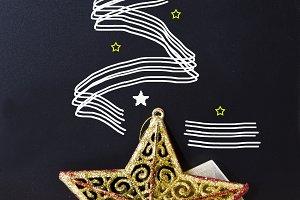 Christmas drawings on the blackboard