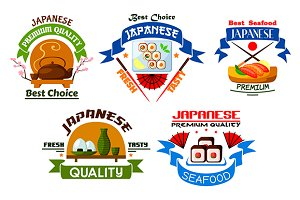 Japanese seafood icons