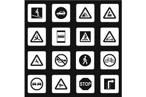 Road signs icons set, simple style