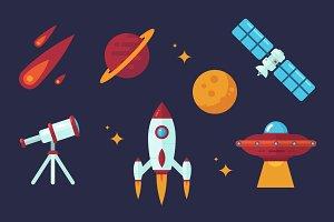 Space Vector Flat Clip Art