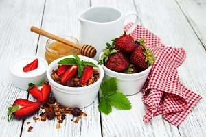 Homemade granola  with strawberries