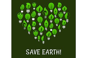 Save Earth. Energy saving placard
