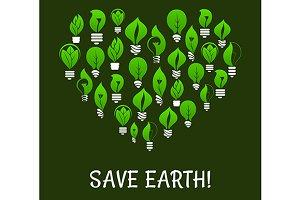Save Earth. Energy saving placard