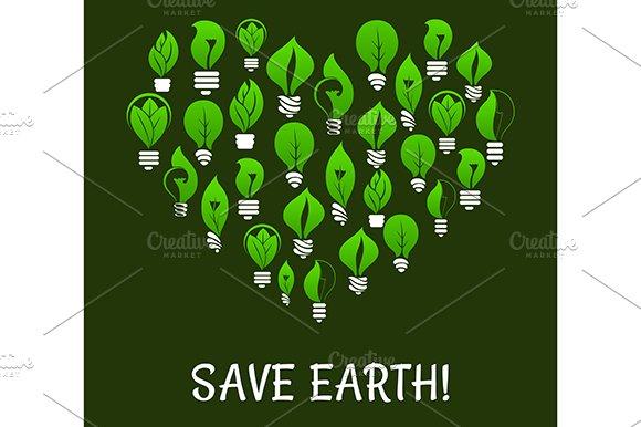 Save Earth. Energy saving placard - Graphics