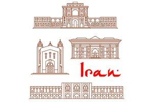 Iran landmarks thin line icons