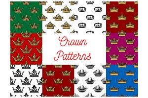 Crowns seamless patterns
