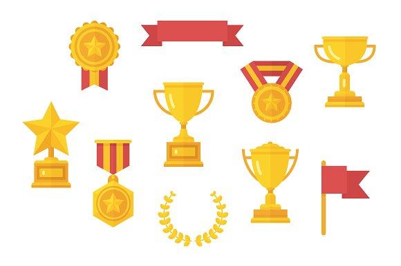 Trophy Vector Flat Clip Art Illustrations Creative Market