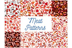 Meat and sausages pattern
