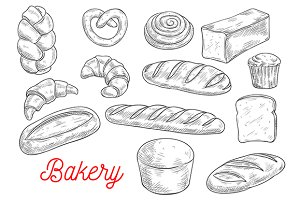 Sketched bread and pastry