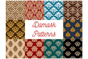 Damask seamless floral patterns
