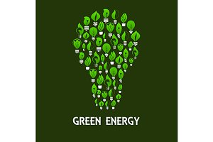 Green energy light bulb symbol