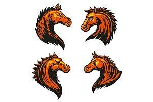 Tribal flaming horse head mascots