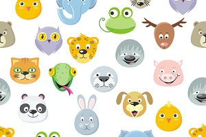 Seamless Pattern Animal Faces