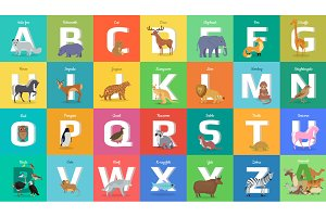 Animals Alphabet. Letter from A to Z