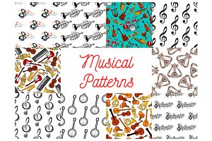 Music seamless patterns set